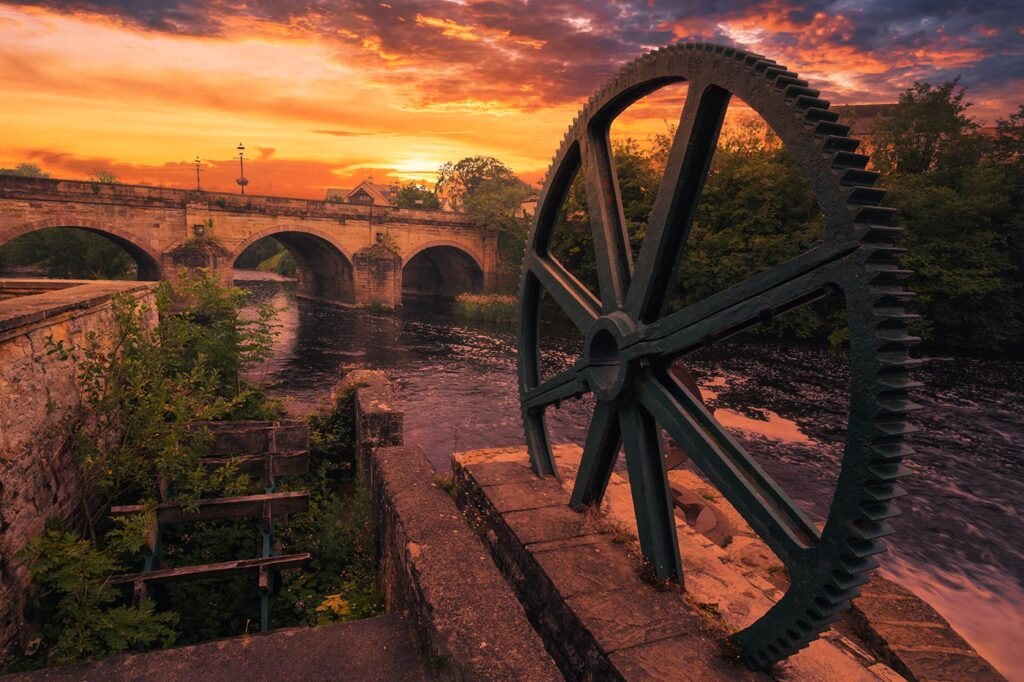 Wetherby Cog and Waterwheel at Sunset Photography Print